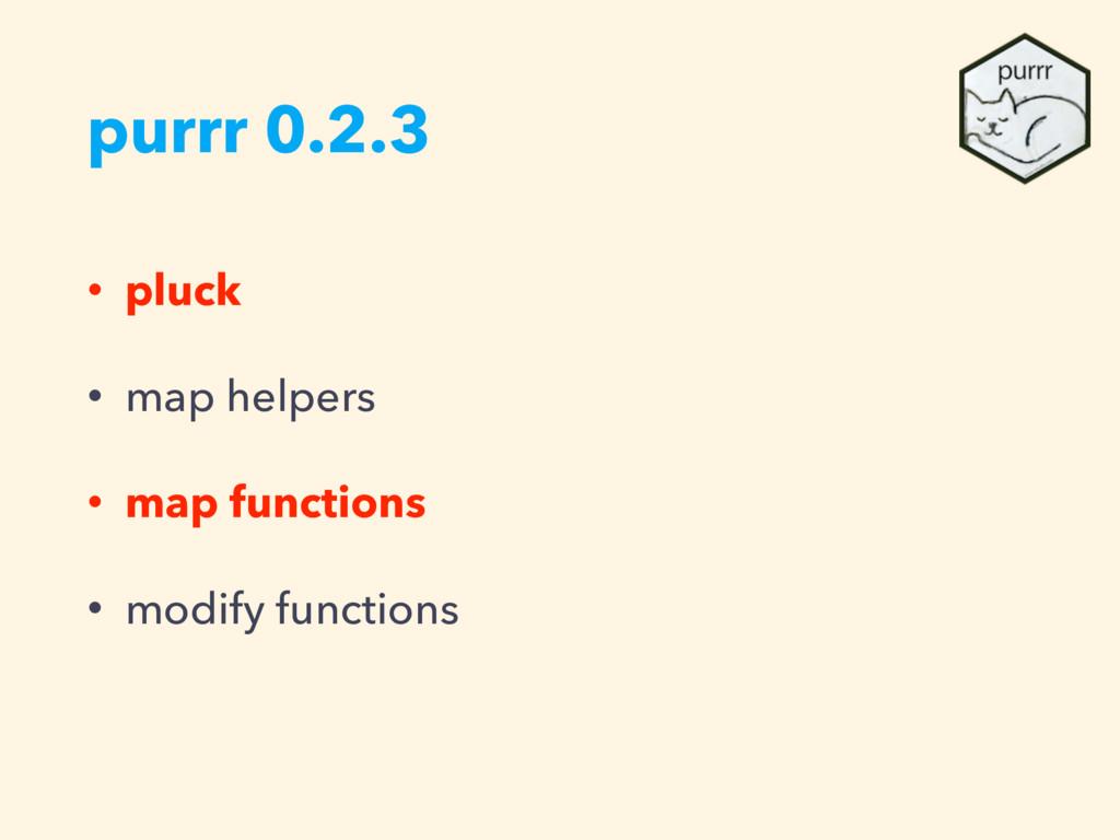 purrr 0.2.3 • pluck • map helpers • map functio...