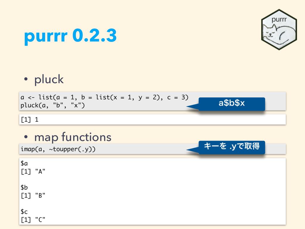 purrr 0.2.3 • pluck • map functions a <- list(a...
