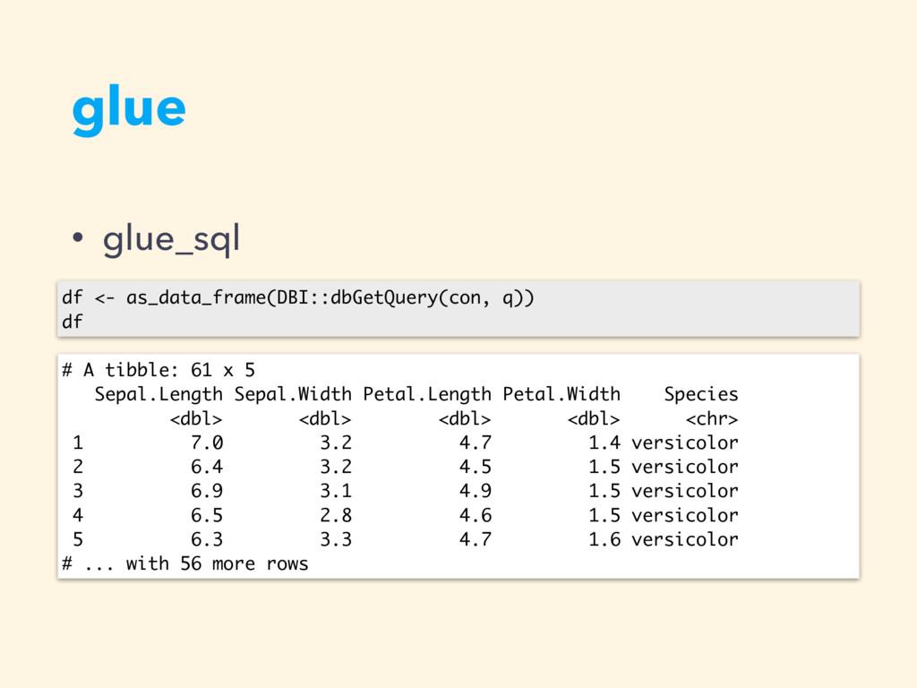 glue • glue_sql df <- as_data_frame(DBI::dbGetQ...