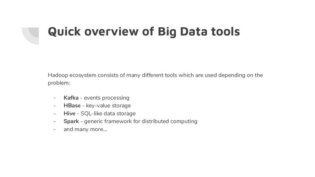 Quick overview of Big Data tools Hadoop ecosyst...