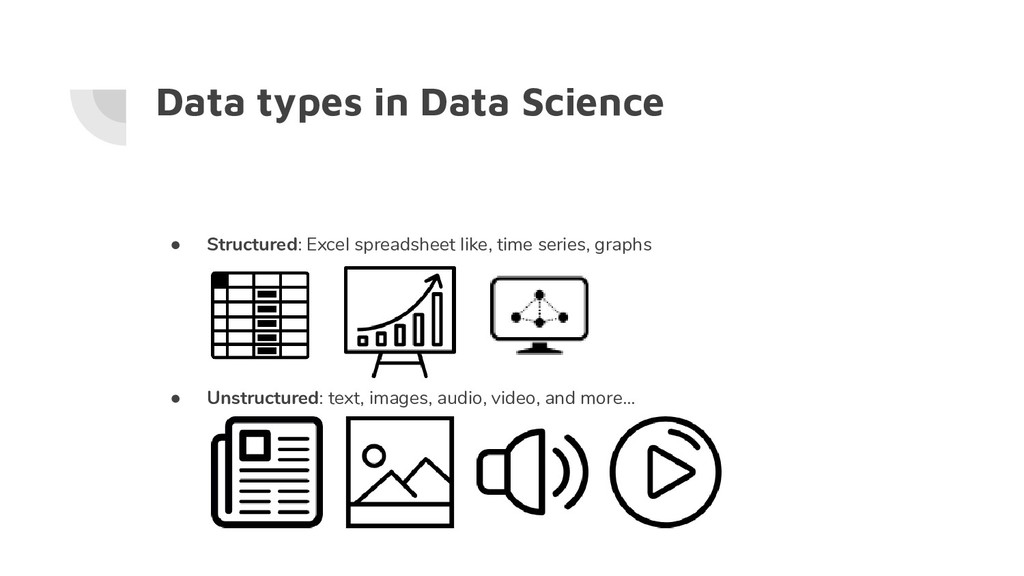 Data types in Data Science ● Structured: Excel ...