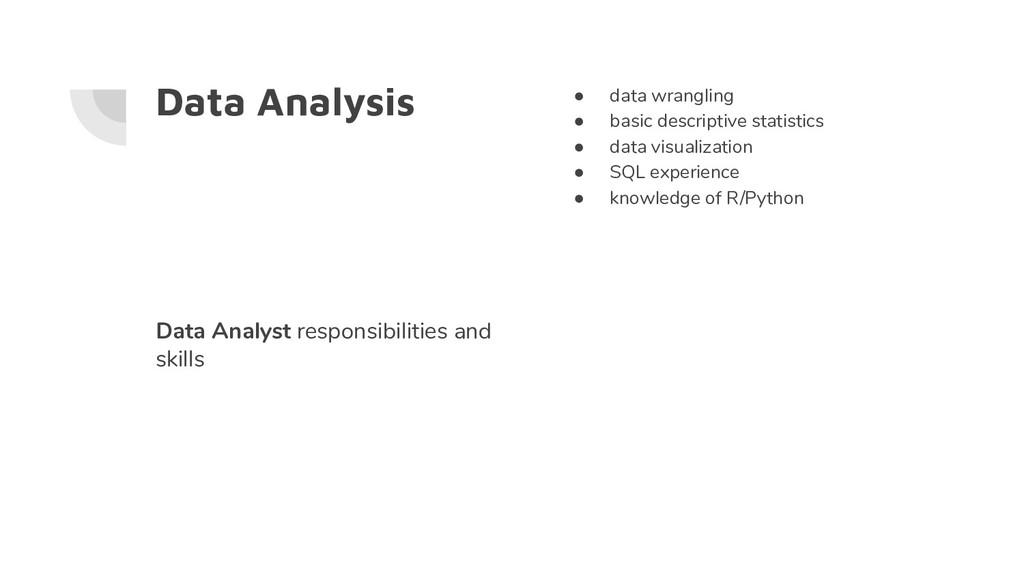 Data Analysis ● data wrangling ● basic descript...