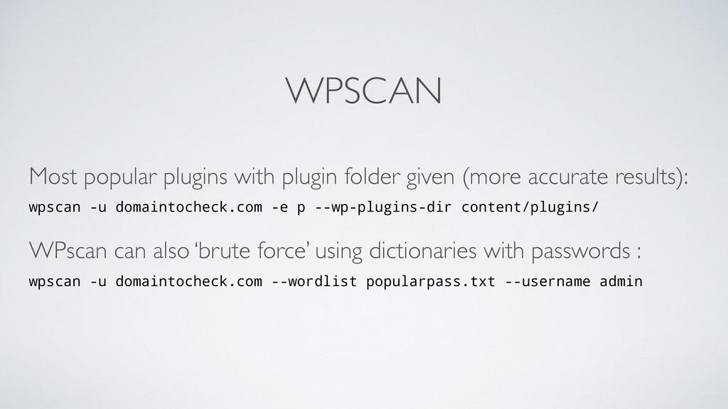 WPSCAN Most popular plugins with plugin folder ...