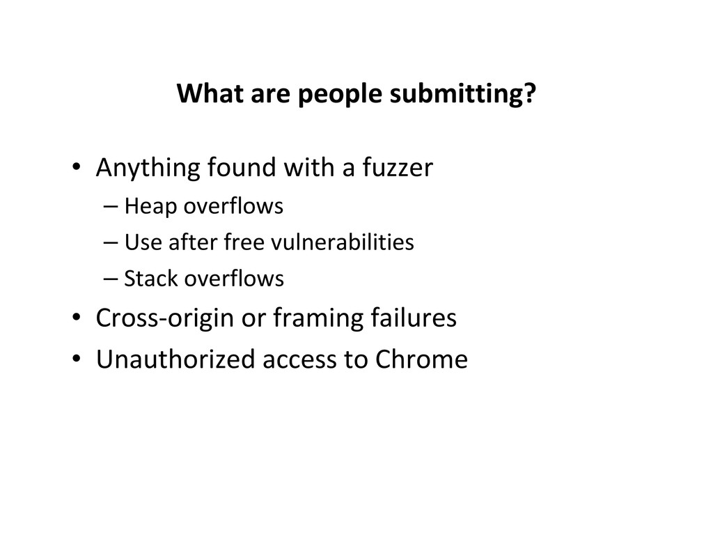 What are people submitting? • Anything found wi...