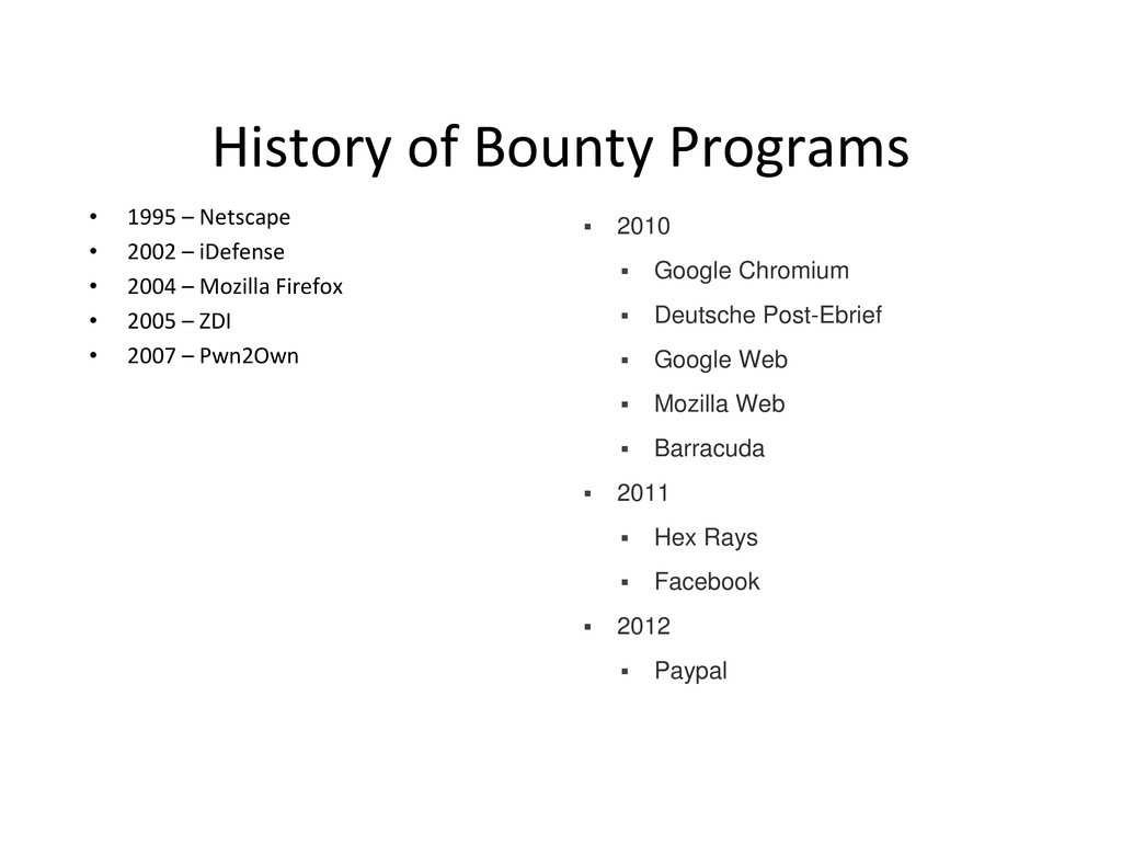 History of Bounty Programs • 1995 – Netscape • ...