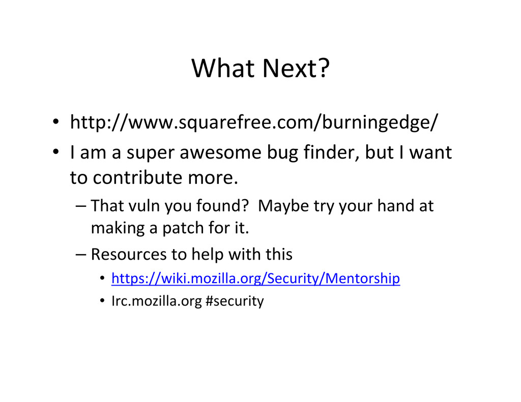 What Next? • http://www.squarefree.com/burninge...