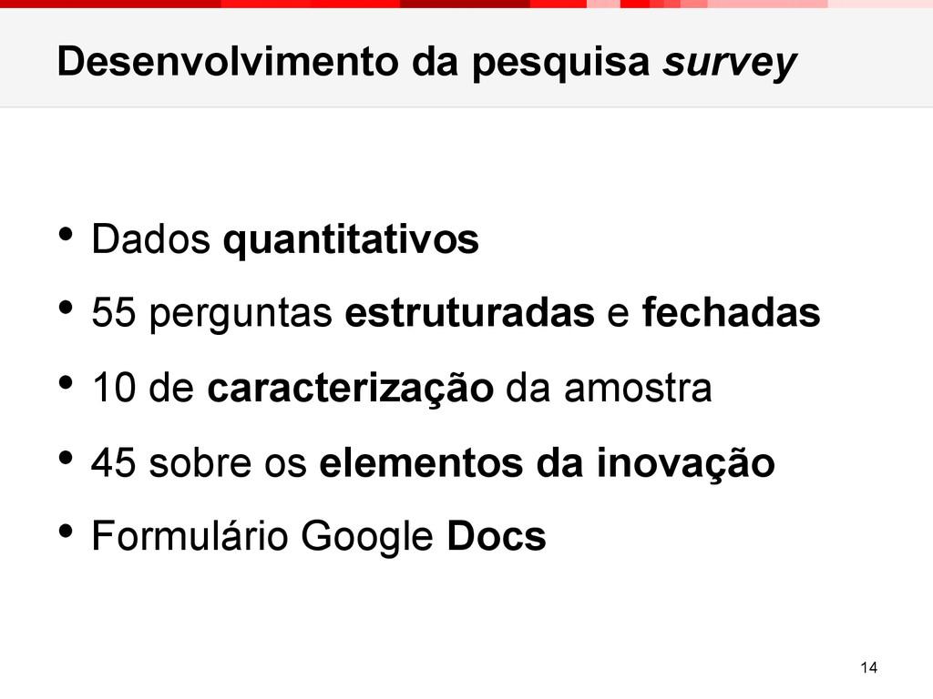 Desenvolvimento da pesquisa survey • Dados qua...