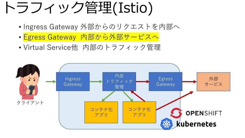 トラフィック管理(Istio) • Ingress Gateway 外部からのリクエストを内部...