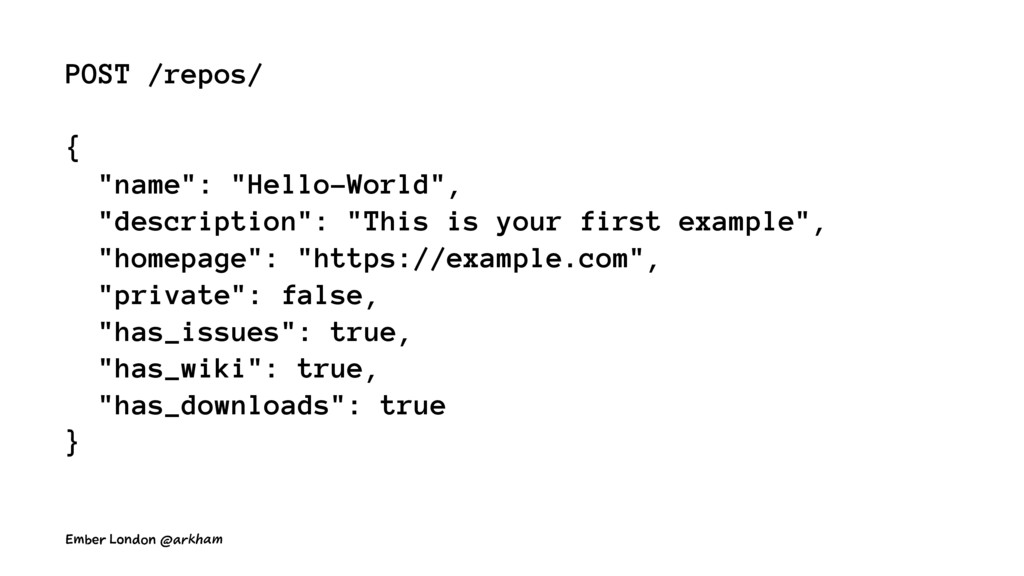 """POST /repos/ { """"name"""": """"Hello-World"""", """"descript..."""