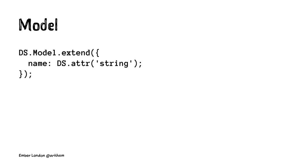 Model DS.Model.extend({ name: DS.attr('string')...
