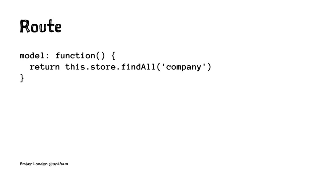 Route model: function() { return this.store.fin...