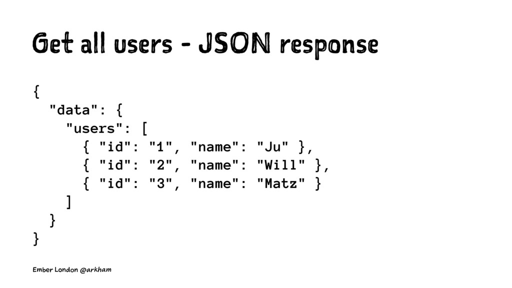 """Get all users - JSON response { """"data"""": { """"user..."""