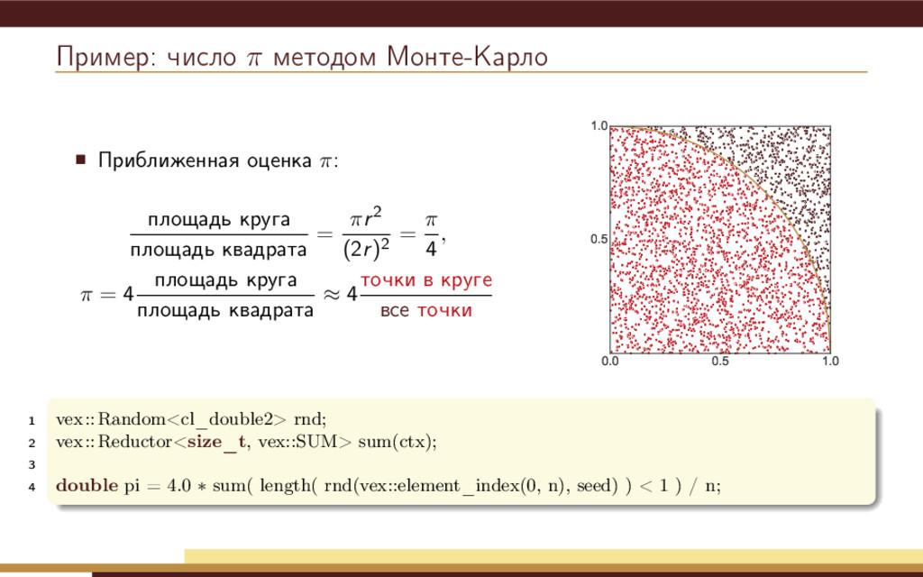 Пример: число π методом Монте-Карло Приближенна...