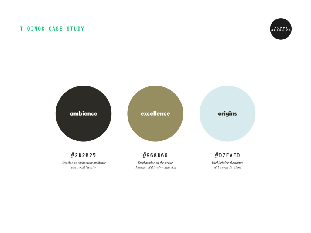 T-OINOS CASE STUDY #2D2B25 #968D60 ambience exc...