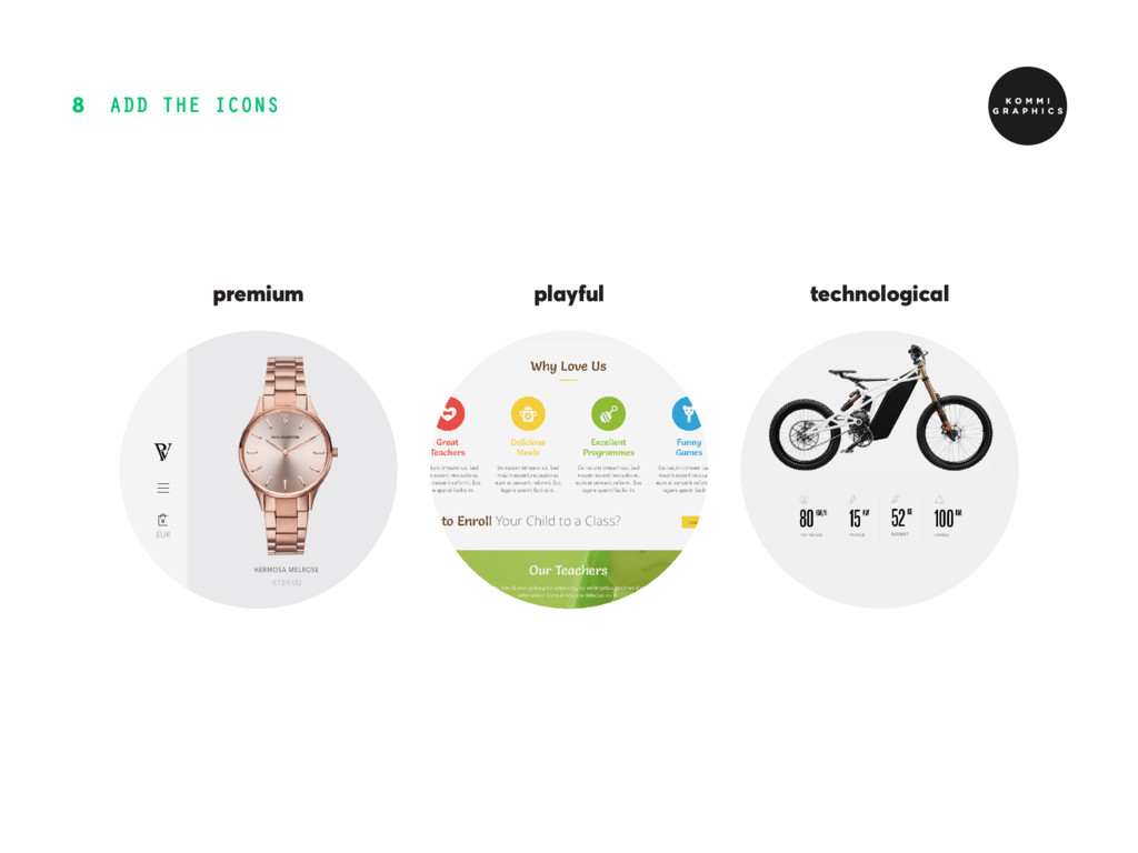ADD THE ICONS 8 playful technological premium
