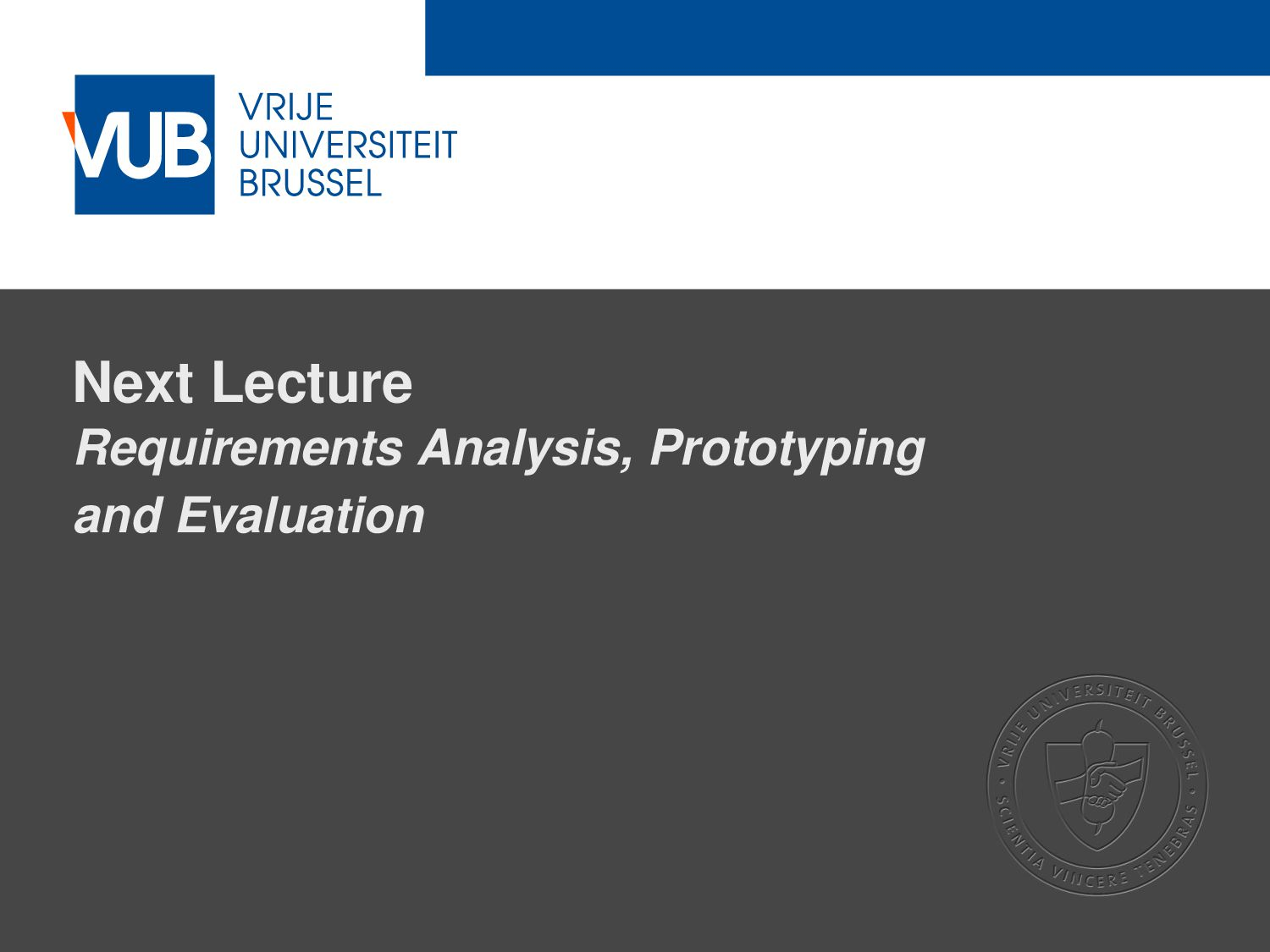2 December 2005 Next Lecture Requirements Analy...