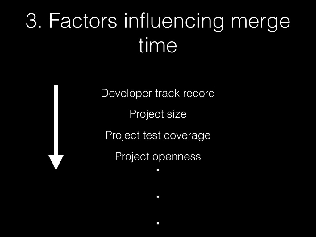 3. Factors influencing merge time Developer trac...