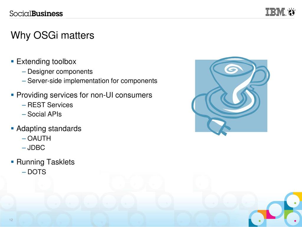 Why OSGi matters Extending toolbox – Designer c...