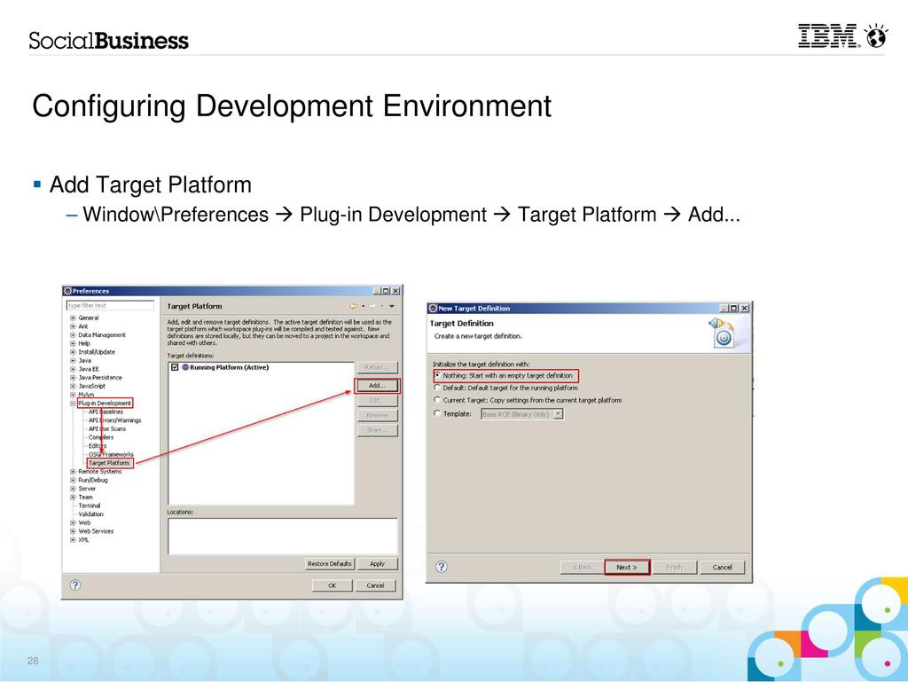 Configuring Development Environment Add Target ...