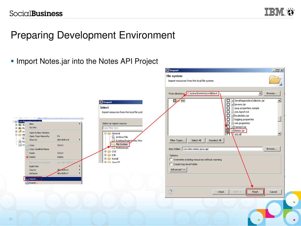 Preparing Development Environment Import Notes....