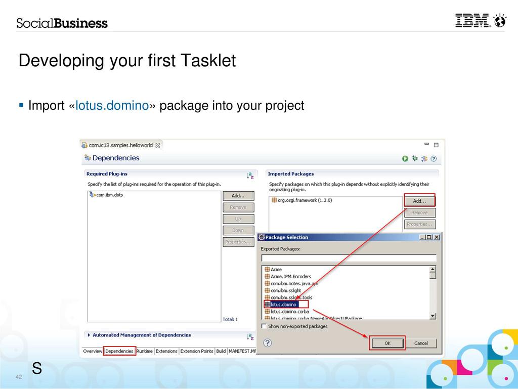 Developing your first Tasklet Import «lotus.dom...