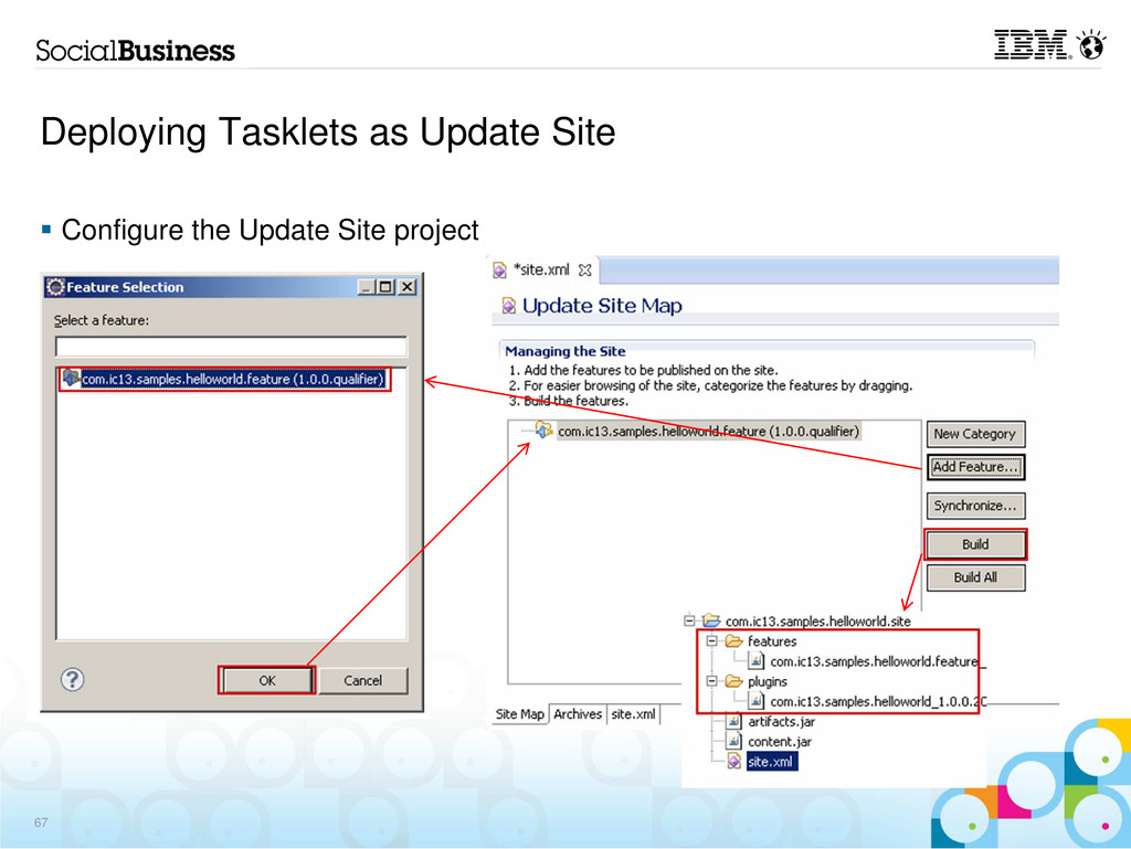 Deploying Tasklets as Update Site Configure the...