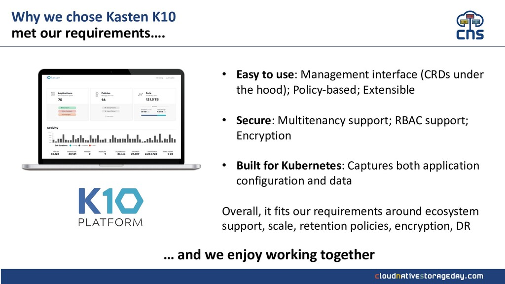 Why we chose Kasten K10 met our requirements…. ...