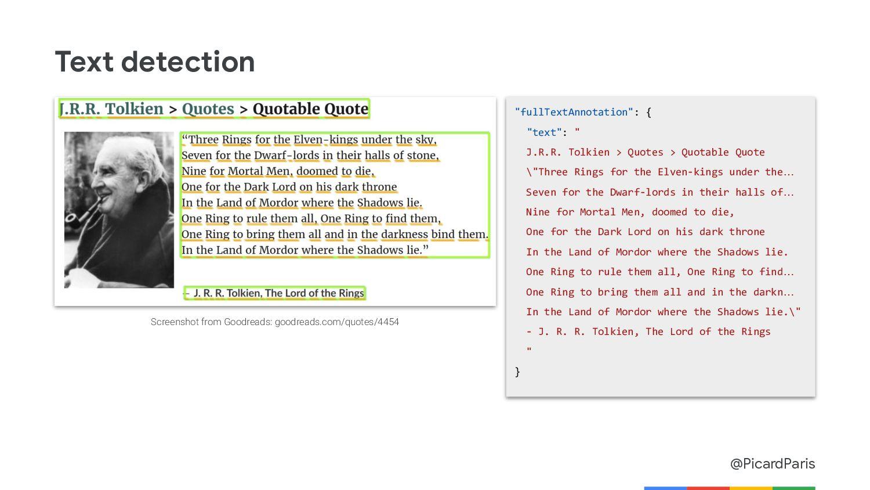 "@PicardParis Text detection ""fullTextAnnotation..."