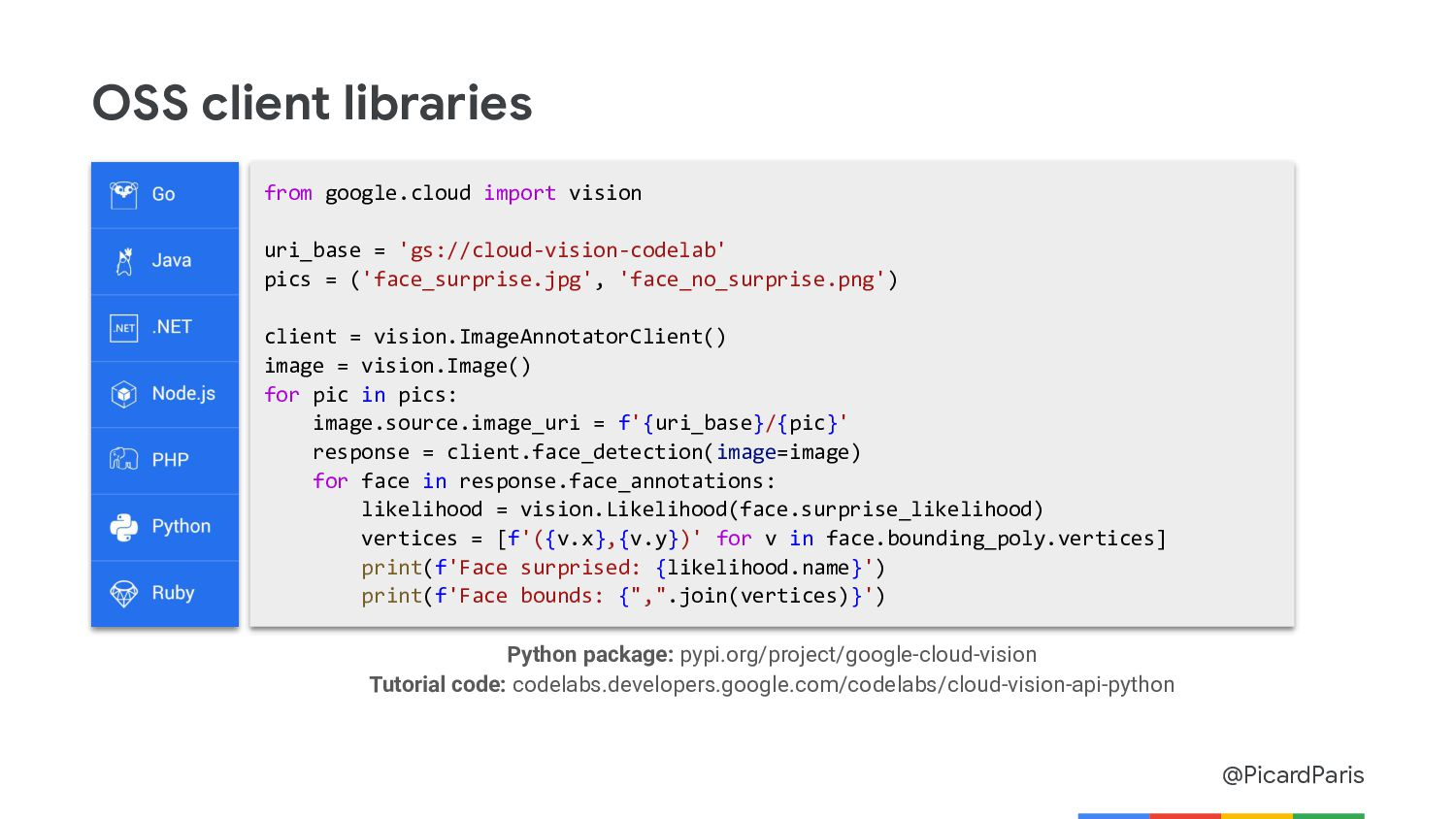 @PicardParis OSS client libraries from google.c...