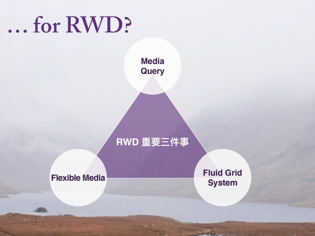 … for RWD? RWD ᯿ᥝӣկԪ Media Query Flexible Media...