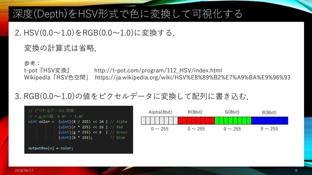 深度(Depth)をHSV形式で色に変換して可視化する 2018/04/17 9 2. HSV...