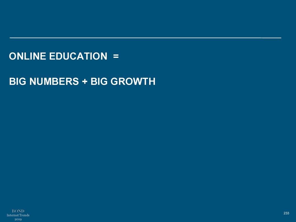 233 Internet Trends 2019 ONLINE EDUCATION = BIG...