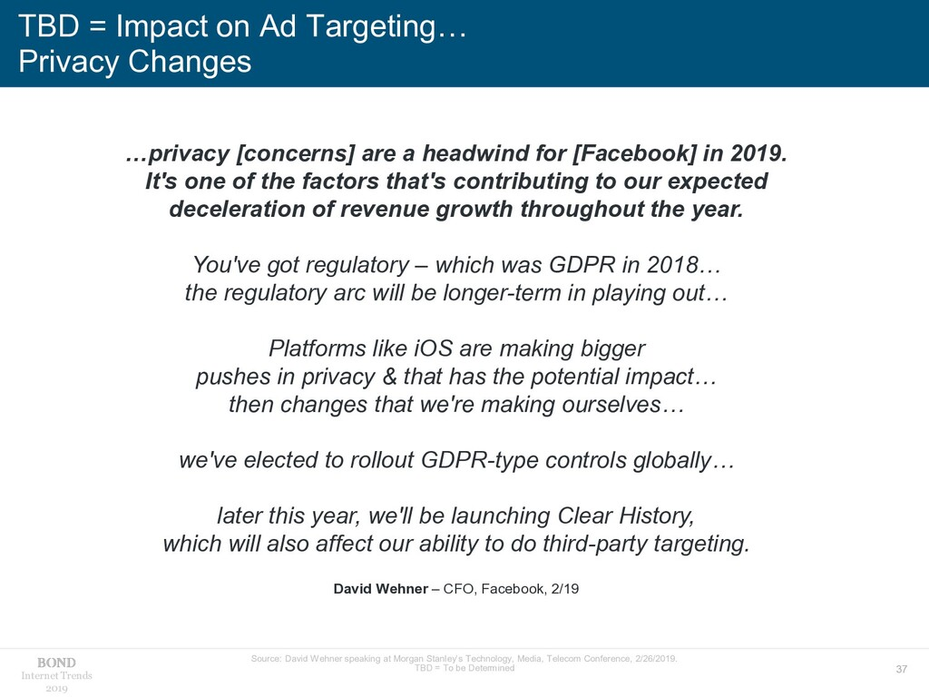 37 Internet Trends 2019 TBD = Impact on Ad Targ...