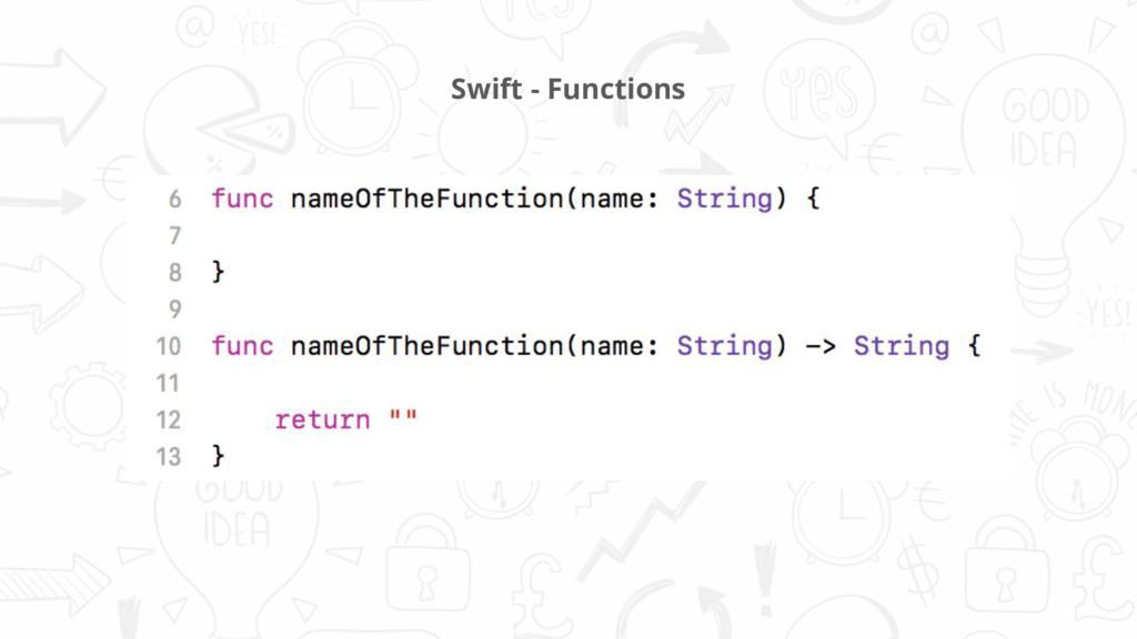Swift - Functions