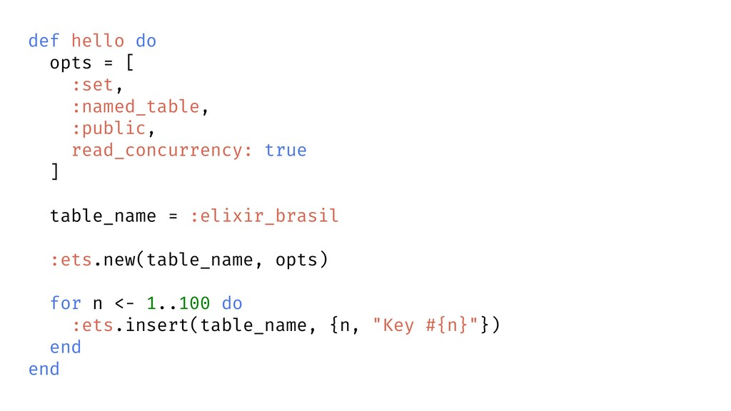 def hello do opts = [ :set, :named_table, :publ...