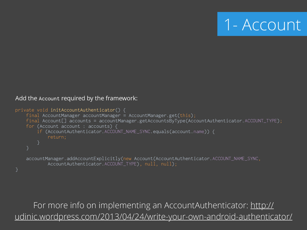 Add the Account required by the framework: ! pr...