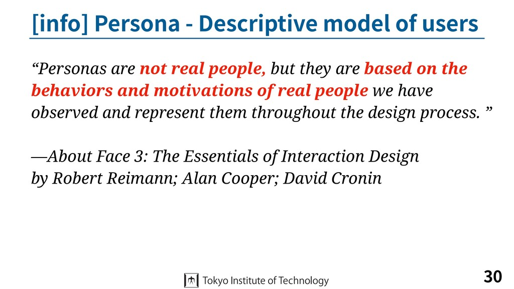 [info] Persona - Descriptive model of users 30 ...
