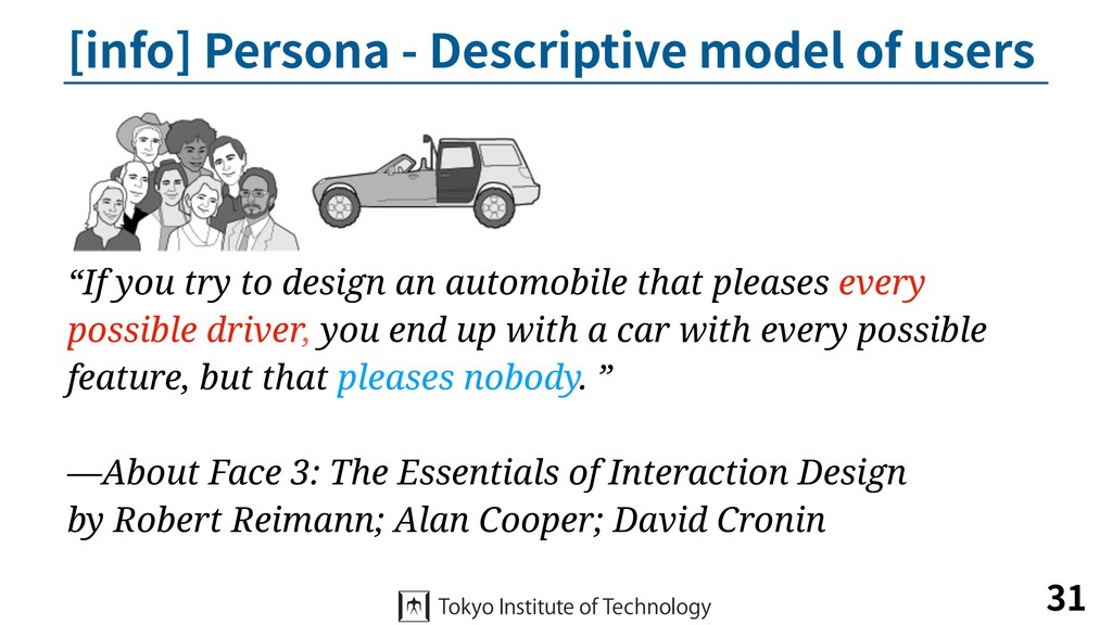 [info] Persona - Descriptive model of users 31 ...