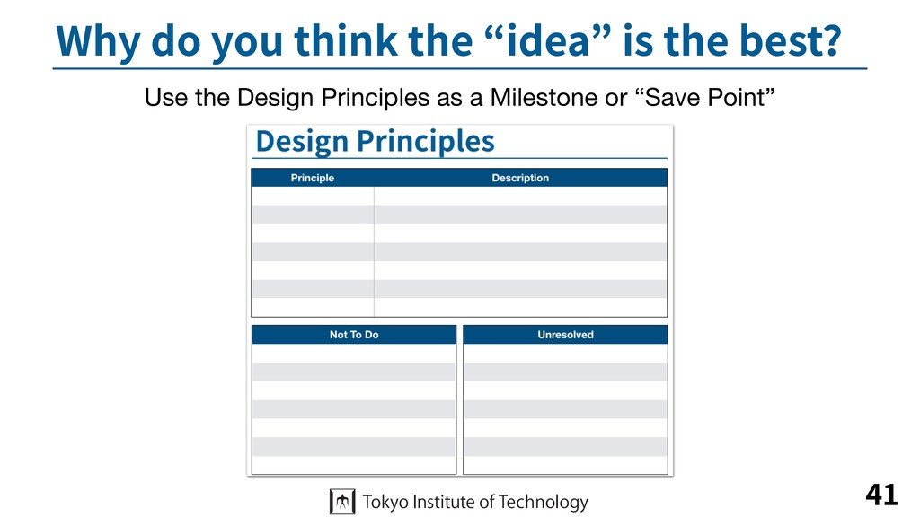 "Why do you think the ""idea"" is the best? 41 Use..."
