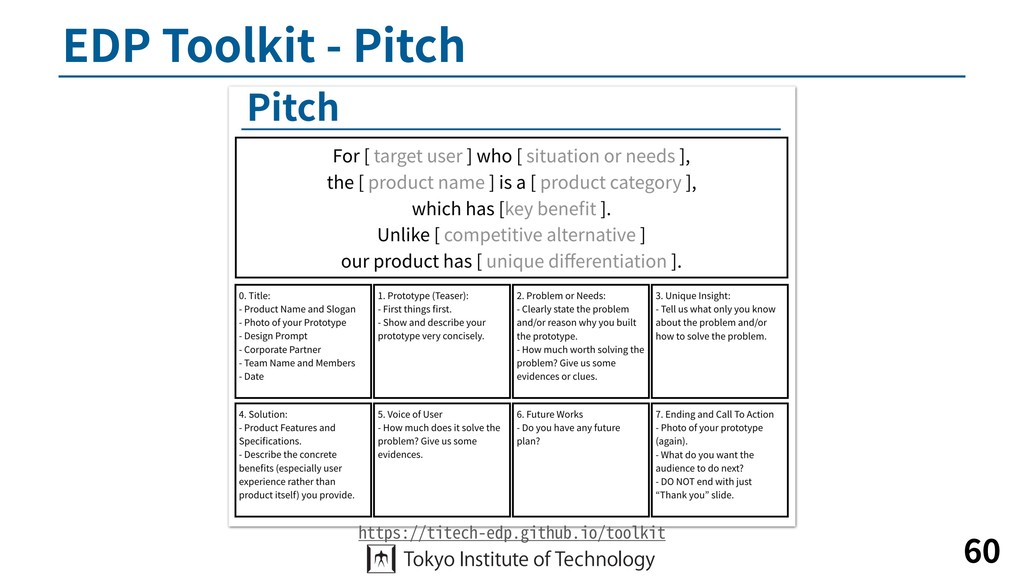EDP Toolkit - Pitch 60 https://titech-edp.githu...