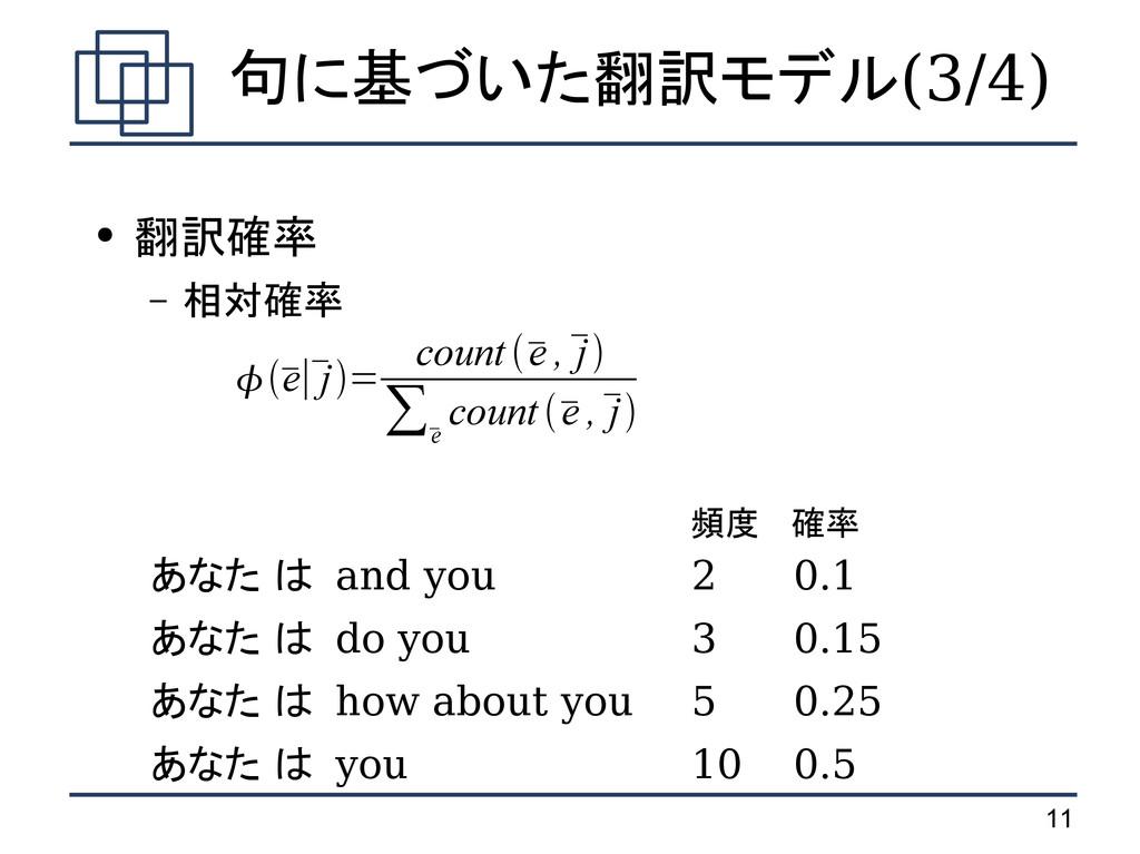 11 句に基づいた翻訳モデル(3/4) ● 翻訳確率 – 相対確率 頻度 確率 あなた は a...