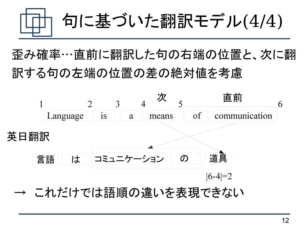 12 句に基づいた翻訳モデル(4/4) 歪み確率…直前に翻訳した句の右端の位置と、次に翻 訳す...