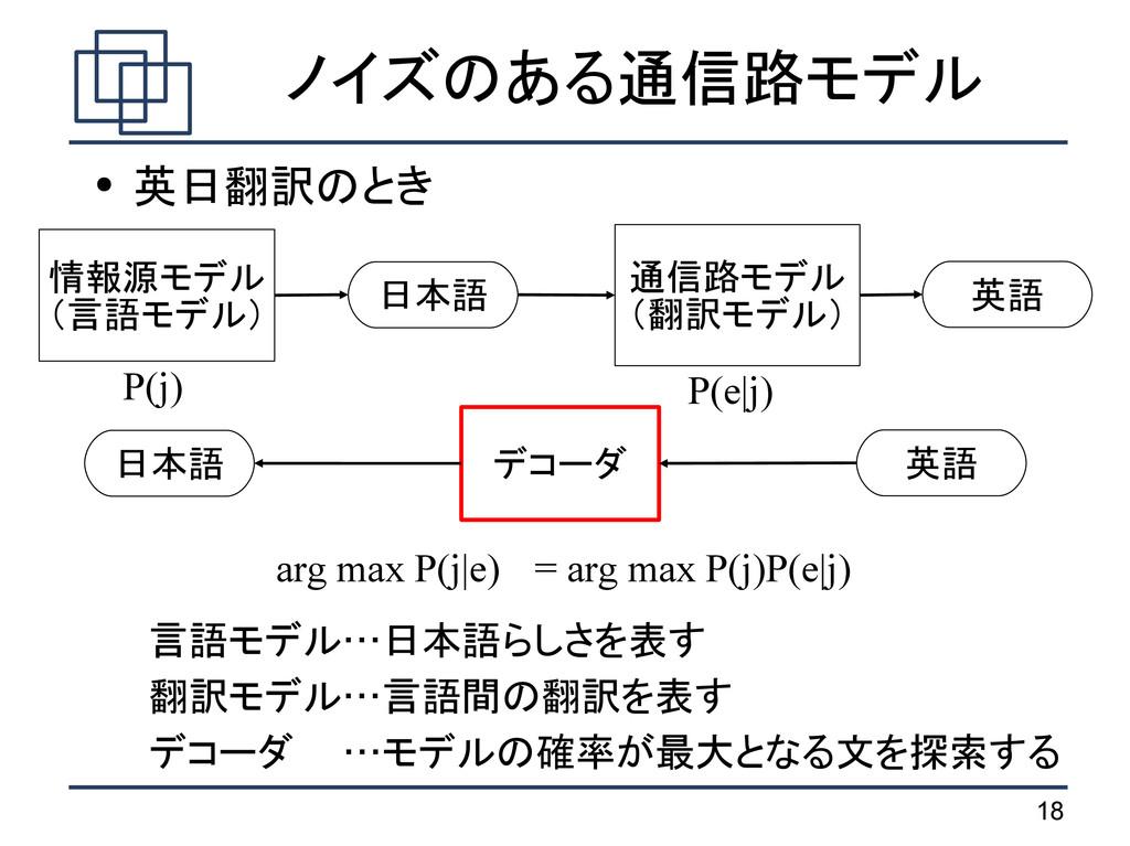18 ノイズのある通信路モデル ● 英日翻訳のとき 言語モデル…日本語らしさを表す 翻訳モデル...
