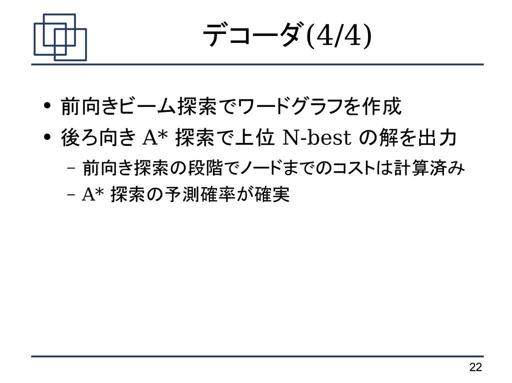 22 デコーダ(4/4) ● 前向きビーム探索でワードグラフを作成 ● 後ろ向き A* 探索で...