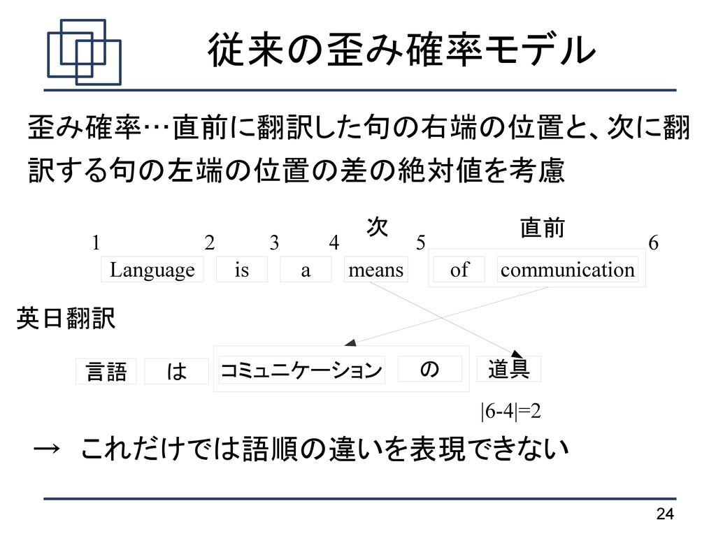 24 従来の歪み確率モデル 歪み確率…直前に翻訳した句の右端の位置と、次に翻 訳する句の左端の...