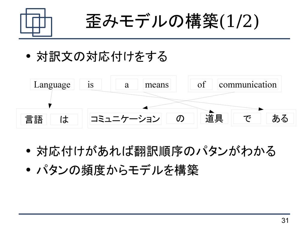 31 歪みモデルの構築(1/2) ● 対訳文の対応付けをする ● 対応付けがあれば翻訳順序のパ...