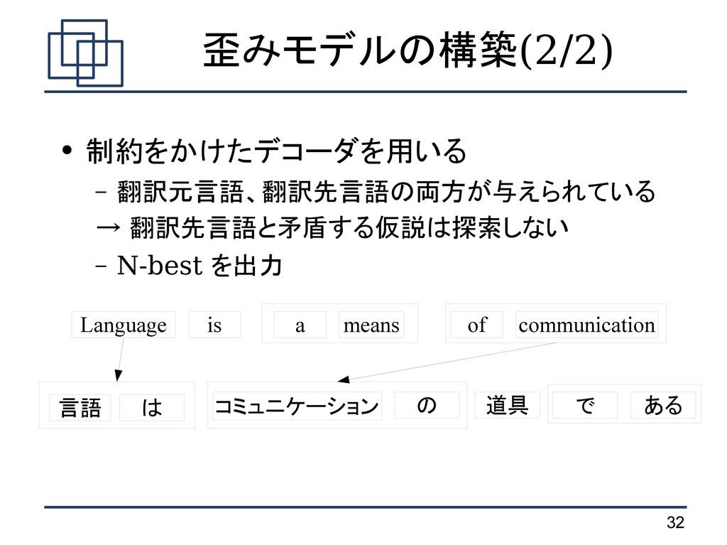 32 歪みモデルの構築(2/2) ● 制約をかけたデコーダを用いる – 翻訳元言語、翻訳先言語...