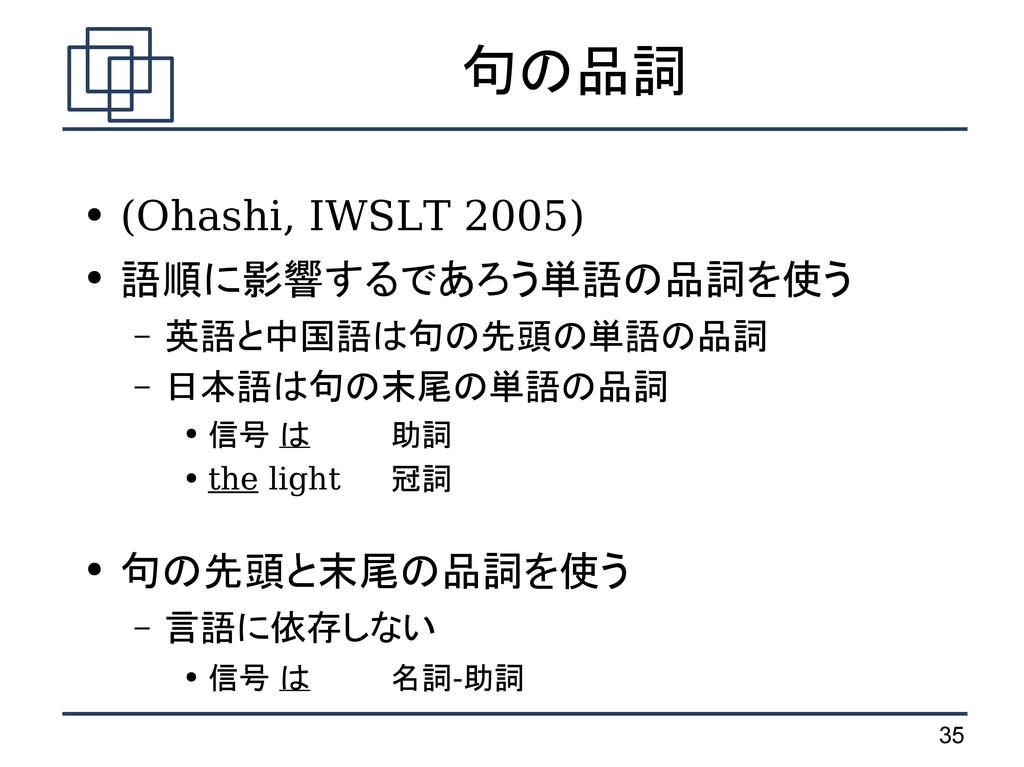 35 句の品詞 ● (Ohashi, IWSLT 2005) ● 語順に影響するであろう単語の...