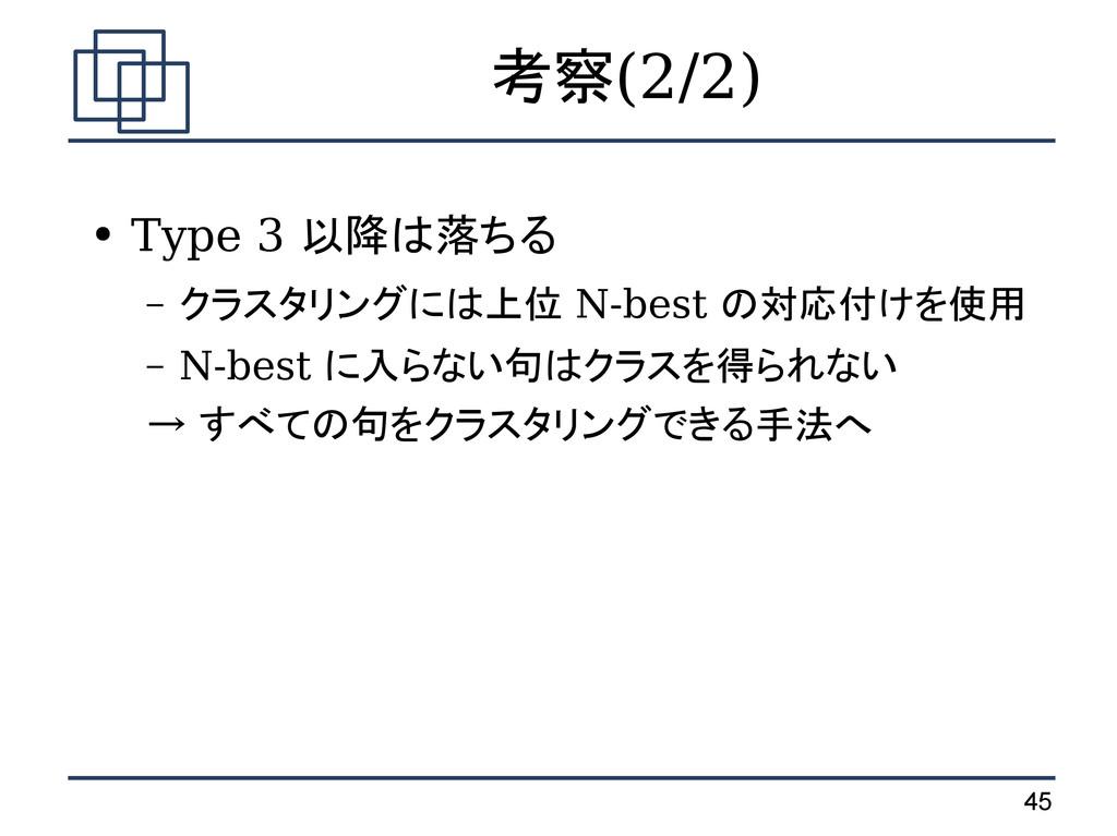 45 考察(2/2) ● Type 3 以降は落ちる – クラスタリングには上位 N-best...
