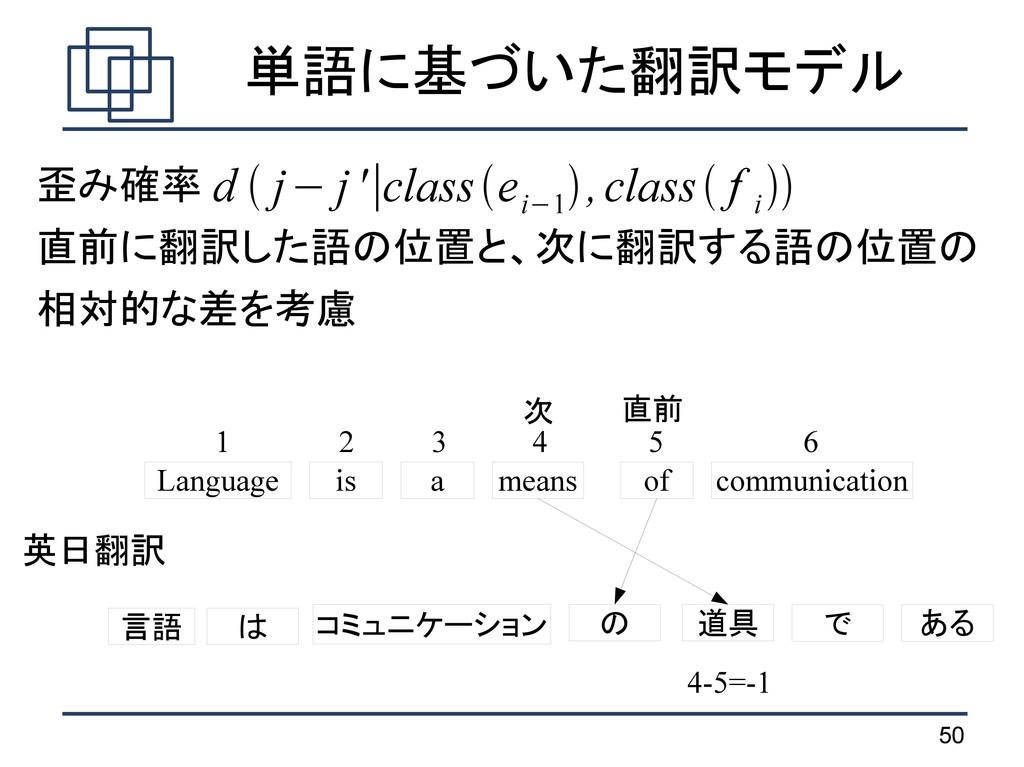 50 単語に基づいた翻訳モデル 歪み確率 直前に翻訳した語の位置と、次に翻訳する語の位置の 相...